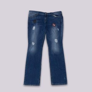 distressed guess jeans with patches